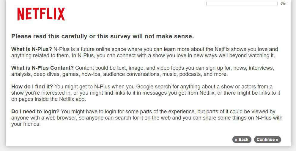 Netflix N-Plus Survey Screenshot